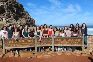 school children at cape of good hope