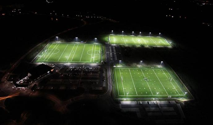 This multi-purpose fully floodlit all weather synthetic grass park contains two full size 3rd Generation soccer pitches, one full size 3rd Generation rugby pitch and a full size 3G GAA pitch.