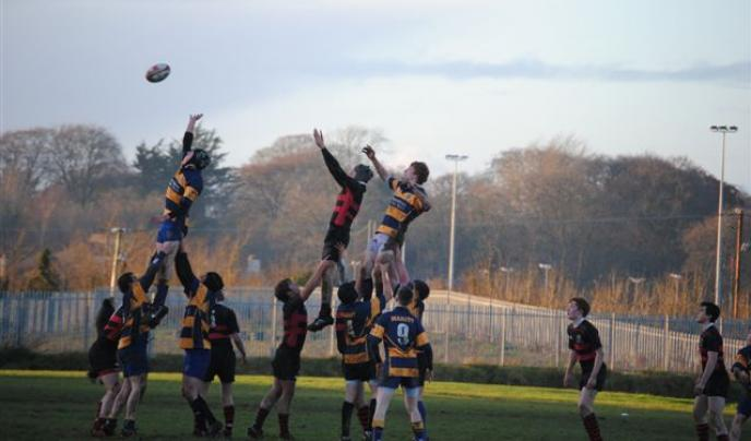 The team from Ampleforth College in North Yorkshire take a match lineout.