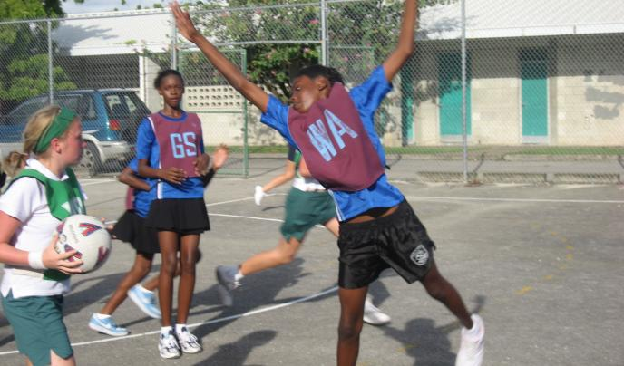 Students playing netball, Grenada.