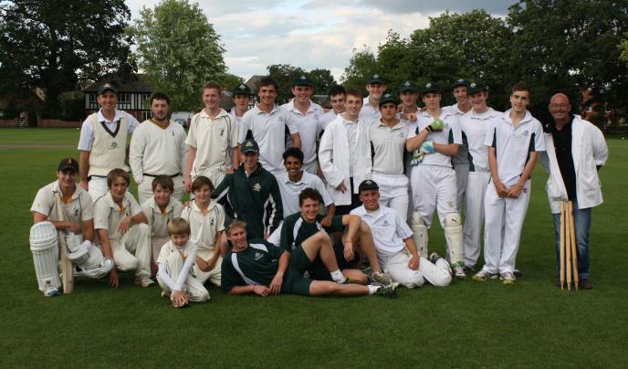 The Westminster cricket team pose for the camera in their cricket whites.