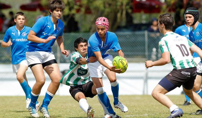 Students playing rugby, Portugal