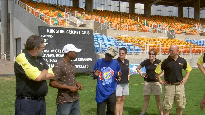 Staff inspect the rounds at Kingston Cricket Club