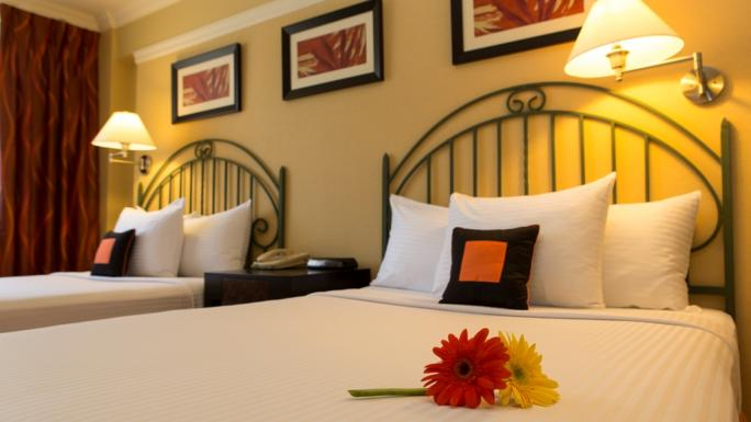 A recently renovated twin room at the Kapok Hotel, Port of Spain.