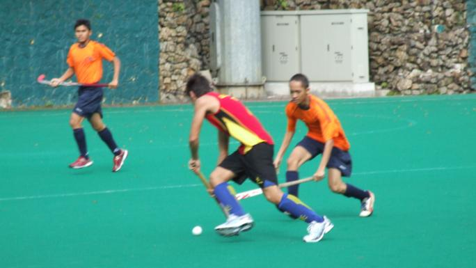 Players enjoy intense, fast-paced hockey on AstroTurf.