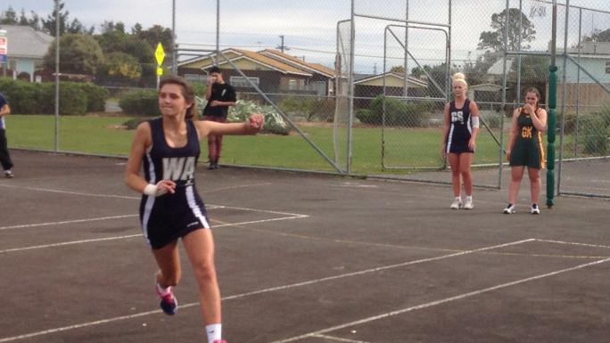 Students playing netball, New Zealand