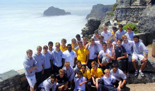 Top players: Eltham College, London, on top of Table Mountain.