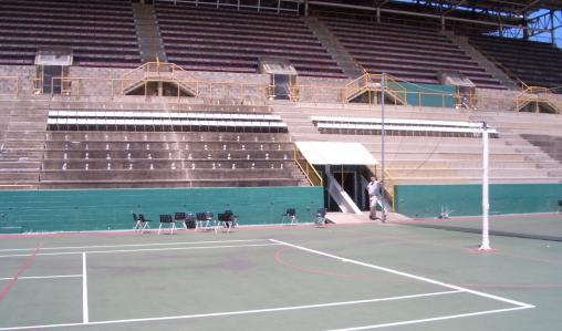 Safety first: a synthetic court at Hasely Crawford Stadium in Mucurapo.