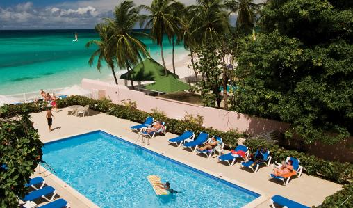 Pool with a view: guests relax at the Butterfly Beach Hotel.