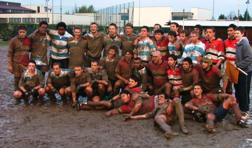 Students playing rugby, Italy.