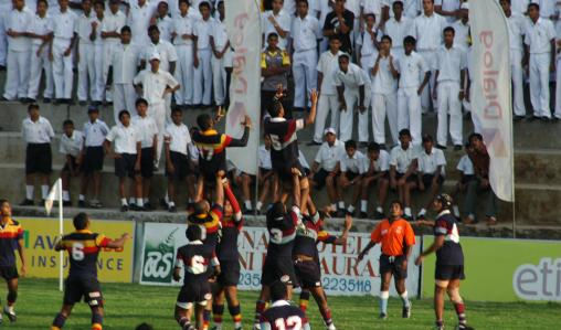 Players aim high as they prepare for a line-out.