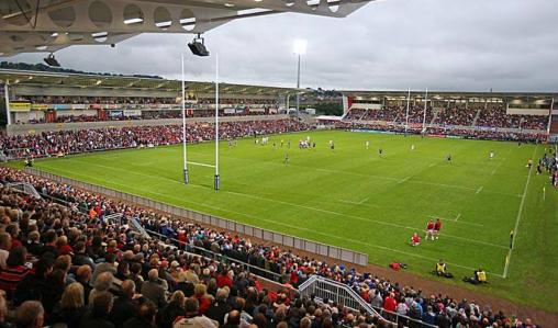 Teams train and play at the 12,000-capacity Ulster Rugby Club, Belfast.