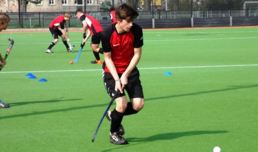 Practicing drills at hockey training in the Netherlands