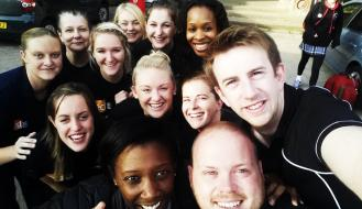 Even the staff got involved with their very own '#GSAselfie at the netball event